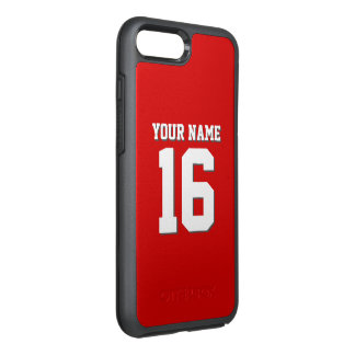 DIY Color Background Preppy Team Jersey Red OtterBox Symmetry iPhone 7 Plus Case