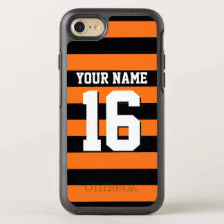 DIY Color BG, Black Team Jersey Preppy Stripe OtterBox Symmetry iPhone 7 Case