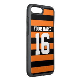 DIY Color BG, Black Team Jersey Preppy Stripe OtterBox Symmetry iPhone 7 Plus Case