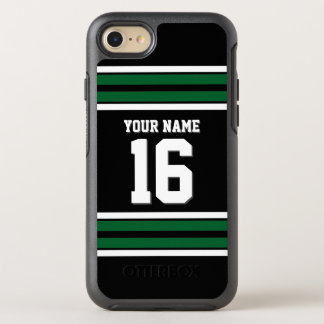 DIY Color BG, Dark Green Team Jersey Preppy Stripe OtterBox Symmetry iPhone 7 Case