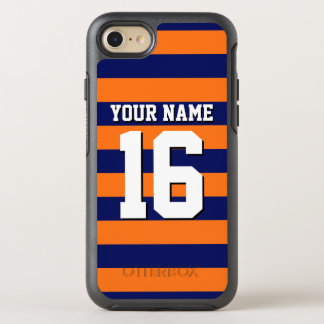 DIY Color BG, Navy Blue Team Jersey Preppy Stripe OtterBox Symmetry iPhone 7 Case