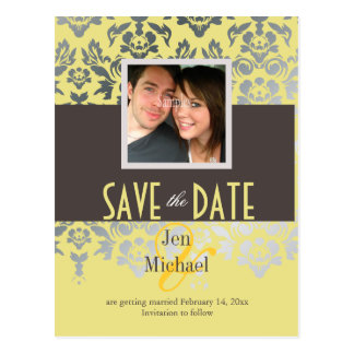 DIY color/Damask, Save the Date Photo postcards, Postcard