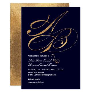 DIY Color, Monograms, Faux Gold Fancy Script 13 Cm X 18 Cm Invitation Card