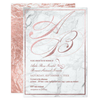 DIY Color, Monograms, Faux Rose Gold Fancy Script Card
