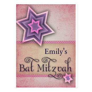 DIY Colorful Bat Mitzvah design Post Cards