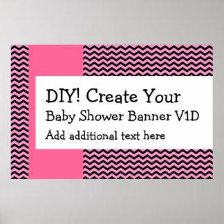 DIY Create Your Own Baby Shower Banner CHEVRON V1D Poster