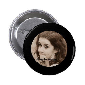 DIY Create Your Own Black Personalized Photo Frame 6 Cm Round Badge
