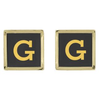 DIY Create Your Own Custom Monogram Cufflinks V07 Gold Finish Cufflinks