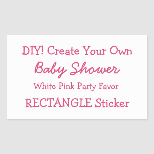 DIY Create Your Own WHITE Baby Shower Favor V01V Stickers