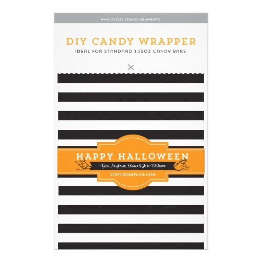 Diy Custom Halloween 1 55oz Candy Bar Template Zazzle