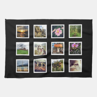 DIY Custom Photo Collage with 12 Photos Tea Towel