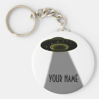 DIY CUSTOM UFO, WRITE YOUR NAME BASIC ROUND BUTTON KEY RING