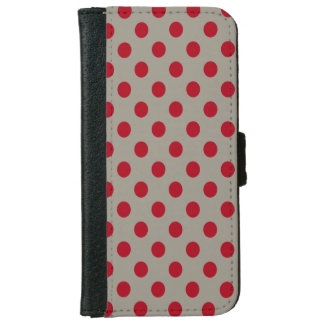 DIY Dark Red Polka Dots on Any Color iPhone 6 Wallet Case