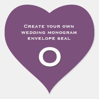 DIY Design Your Custom Color Wedding Monogram  V16 Heart Sticker