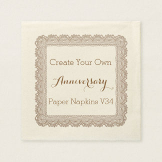 DIY Design Your Own Anniversary Paper Napkins V34