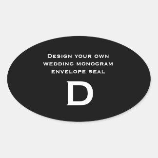 DIY Design Your Own Custom Color Wedding Monogram Oval Sticker