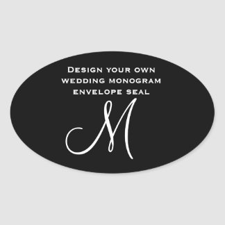DIY Design Your Own Custom Color Wedding Monogram Oval Stickers