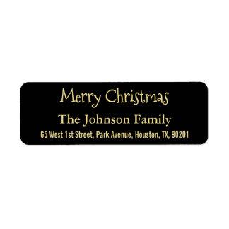 DIY Faux Gold Black Merry Christmas Return Address Return Address Label
