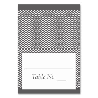 DIY Fold Tented Place Cards Chevron Gray