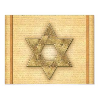 DIY Gold Star of David / Bar Mitzvah template 11 Cm X 14 Cm Invitation Card