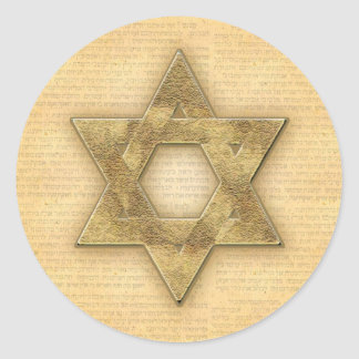 DIY Gold Star of David / Bar Mitzvah template Round Sticker