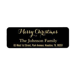 DIY Merry Christmas Faux Gold Black Return Address Return Address Label