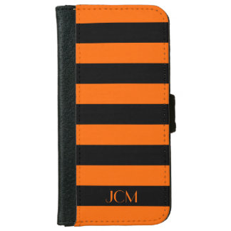 DIY Monogram Any Color/Orange Horizontal Stripe iPhone 6 Wallet Case