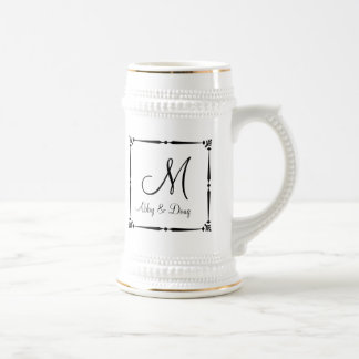 DIY Monogram template with decorative border Beer Steins