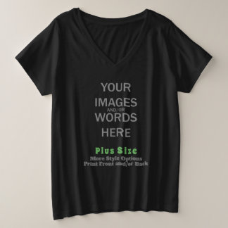DIY Plus Size (Print Front and/or Back) - Plus Size V-Neck T-Shirt