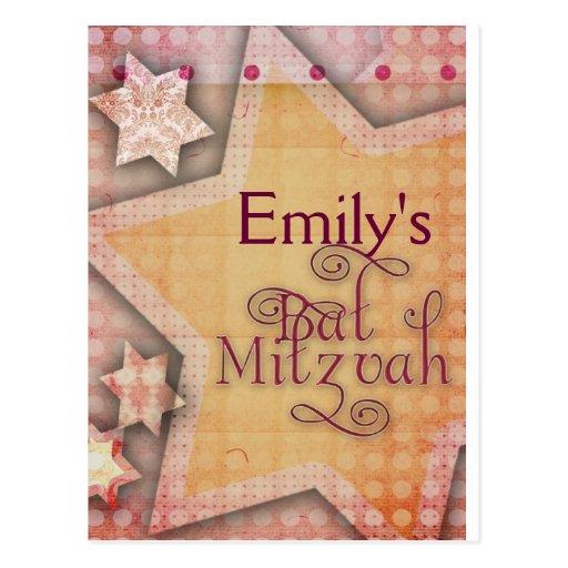 DIY Polka Dot Colorful Bat Mitzvah design Postcards