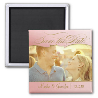 DIY Rose and Gold Photo Save the Date Magnet Fridge Magnets