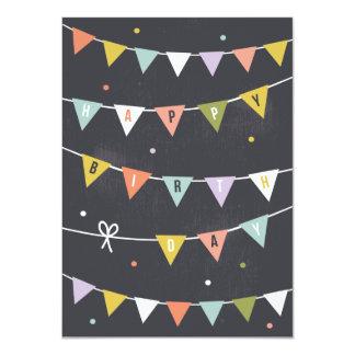 DIY Rustic Chalkboard Birthday bunting lined 11 Cm X 16 Cm Invitation Card