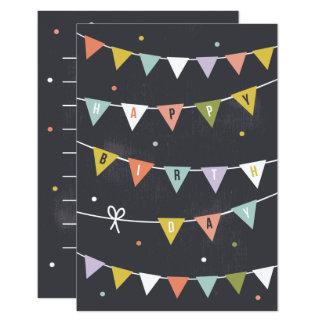 DIY Rustic Chalkboard Birthday bunting lined 9 Cm X 13 Cm Invitation Card