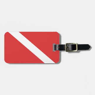DIY Scuba Diving Flag Divers NAME Emblem Red White Luggage Tag