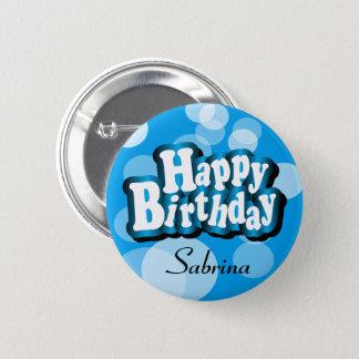 Diy Text Happy Birthday in Blue Bokeh 6 Cm Round Badge