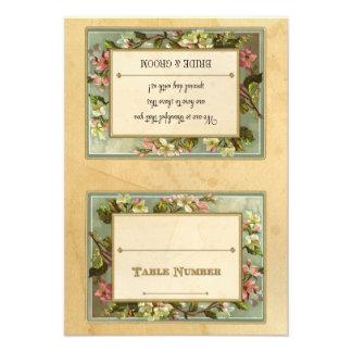 DIY Vintage Apple Blossom, Tea Stained Typography Invitations