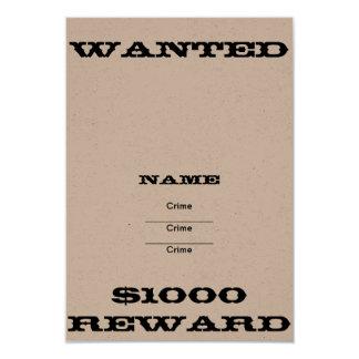 DIY Wanted Poster 9 Cm X 13 Cm Invitation Card