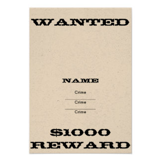 DIY Wanted Poster Invites