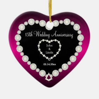 DIY Wedding Anniversary in Fuchsia & Faux Diamonds Ceramic Ornament
