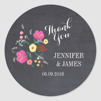 DIY Wedding floral chalkboard favor stickers