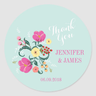 DIY Wedding floral vintage flowers favor stickers