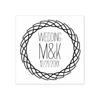 DIY Wedding Monogram Fancy Circle Rubber Stamp