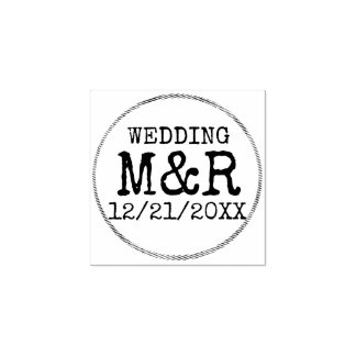 DIY Wedding Rustic Rubber Stamp - Add your details