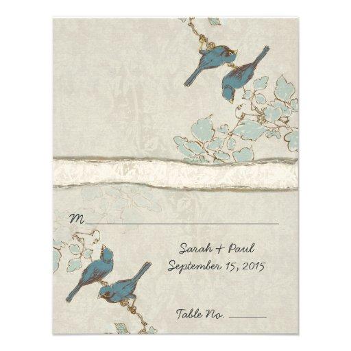 DIY You Score Card Teal Bird Wedding Place Card