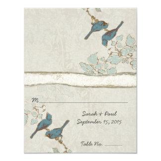 "DIY You Score Card Teal Bird Wedding Place Card 4.25"" X 5.5"" Invitation Card"