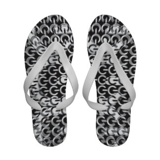 Dizzy with Power Black and White Flip Flops