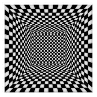 Dizzying Lighted Checkered Chamber Poster