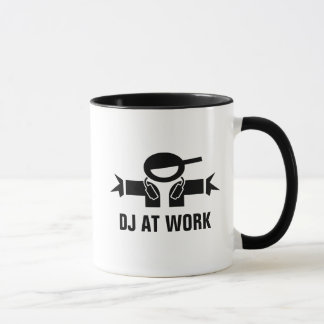 DJ at work custom diskjockey mug for music deejay