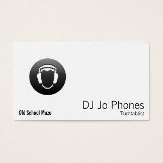 DJ Black Button Headphones Business Card