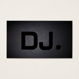 DJ Bold Text Cool Black Modern Business Card